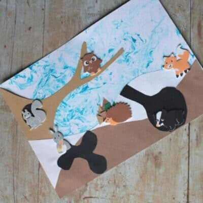 Winter Animal Marbled Art Project for Toddlers and Preschoolers