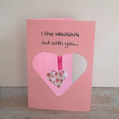 Printable 3D Hanging Heart Valentine's Day Card to Make with Kids