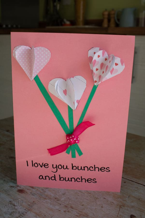 finished valentine's day card craft for kids
