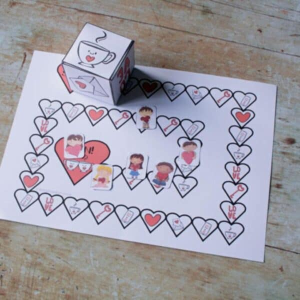 Printable Valentines Day Board Game for Kids to Play
