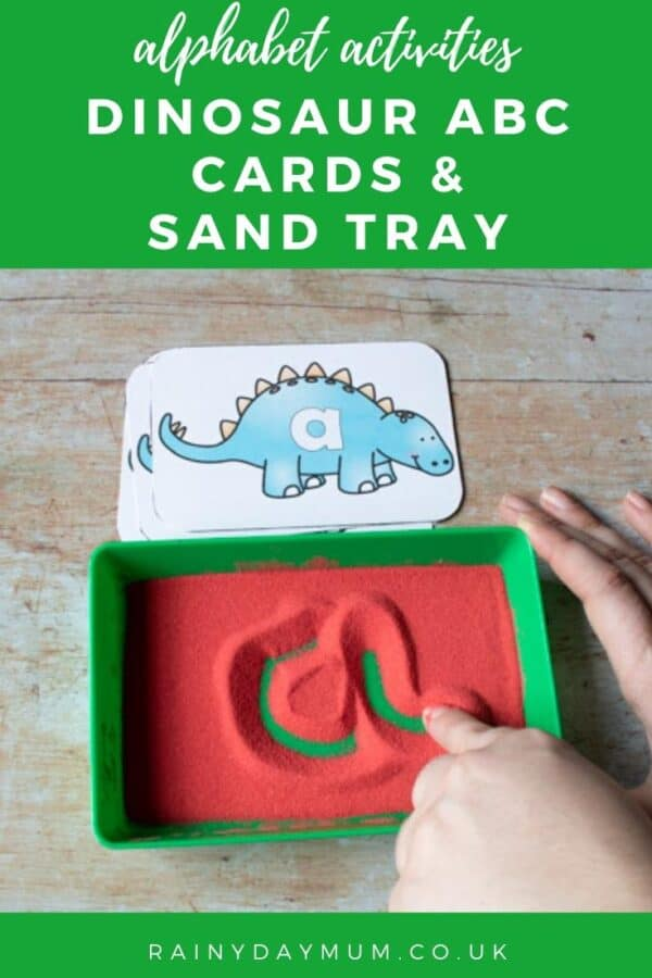 alphabet activity for preschoolers dinosaur writing cards and a simple low prep sand tray for writing practice
