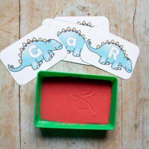Dinosaur Sand Writing Tray for Preschoolers