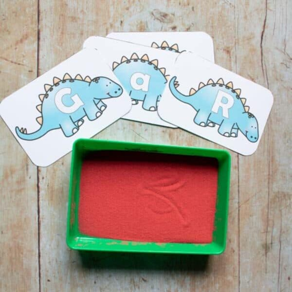 dinosaur letter cards and sand tray activity for preschoolers