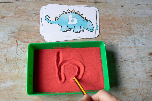 Dinosaur Sand Writing tray with alphabet cards