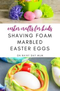 Shaving foam marbled Easter Eggs easy easter crafts for tots