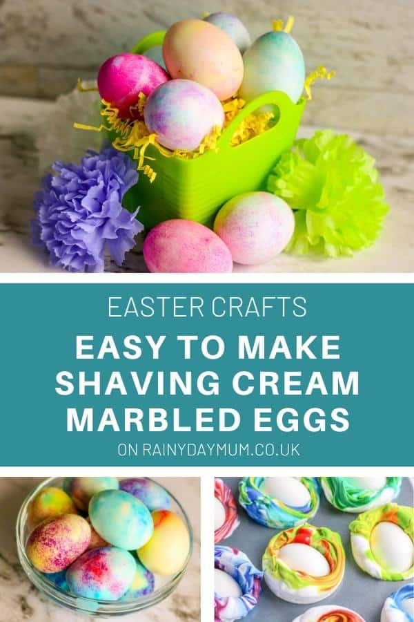 easy to make shaving cream marbled eggs with toddlers