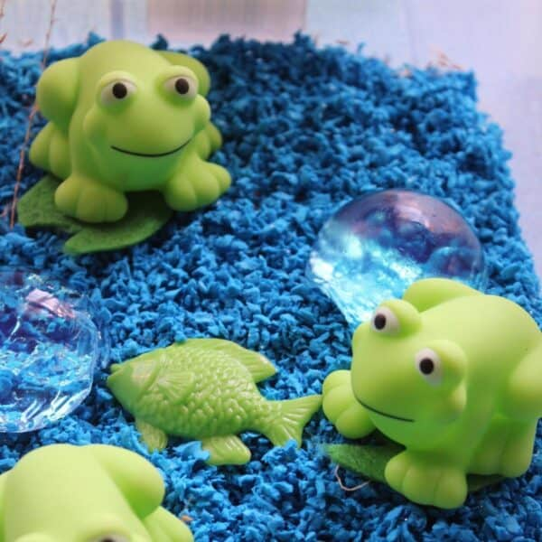 fantastic frog sensory bin for toddlers and preschoolers