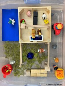 farm sensory bin ready for play
