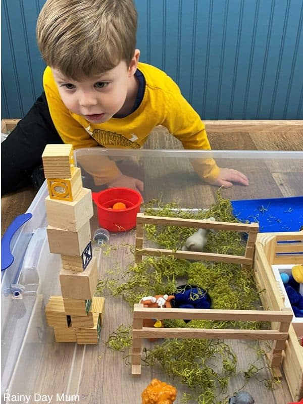 stacking blocks in imaginative and pretend play for a tower