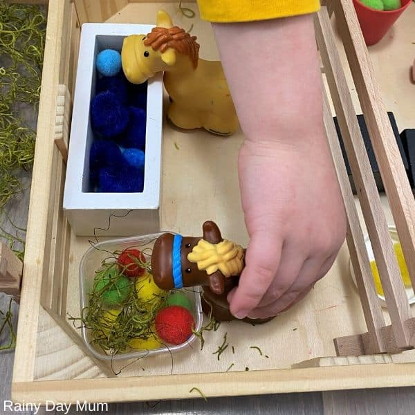imaginative play for toddlers with a farm small world