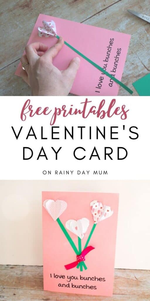 free printable flower Valentine's Day Card craft