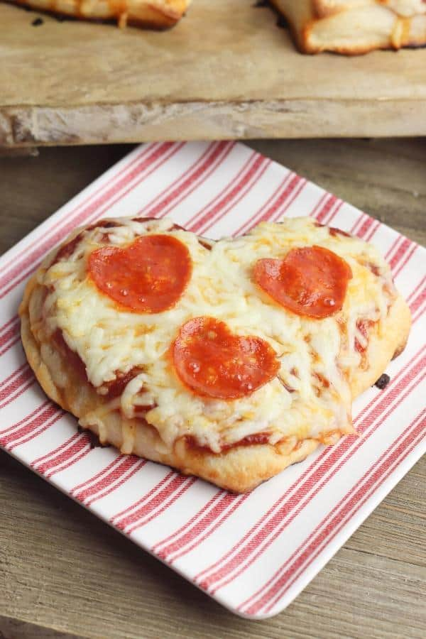 Valentine's Day Pizza with heart shaped pepperoni topping