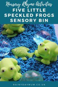 nursery rhyme activities five little speckled frogs sensory bin