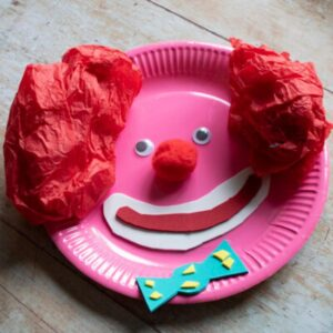 paper plate circus clown craft for toddlers and preschoolers to make