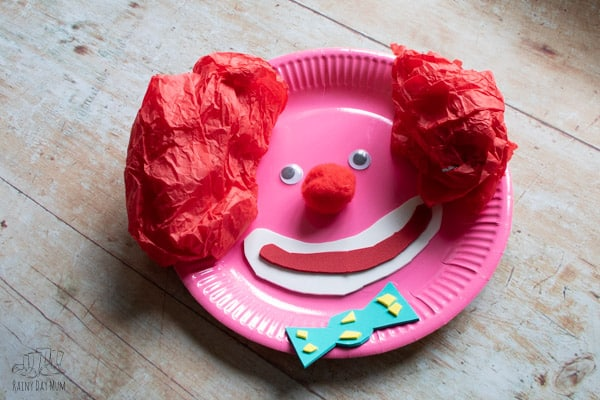 paper plate clown face to make with toddlers and preschoolers