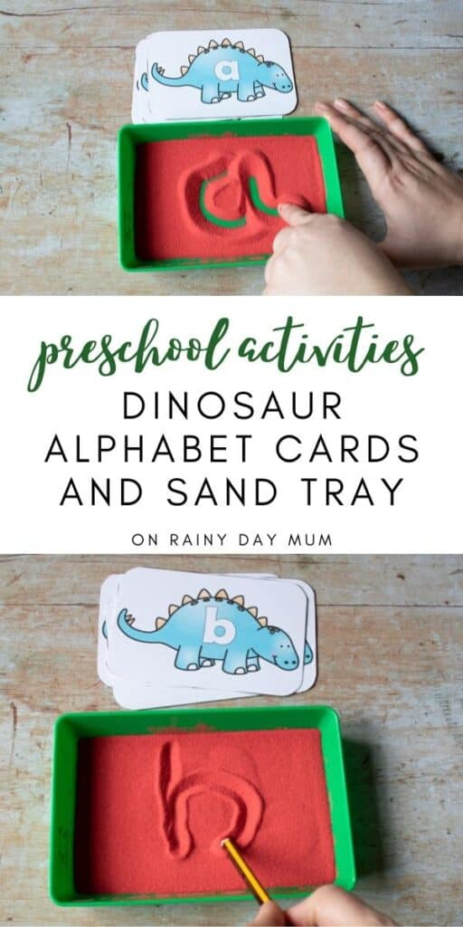 dinosaur alphabet cards and sand tray
