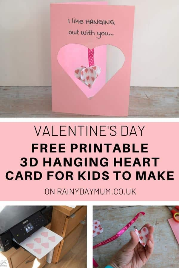 Valentine's Day Printable card craft for kids to make
