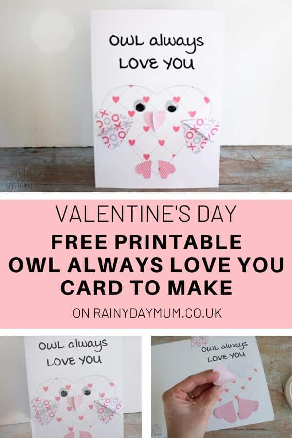 FREE Printable Owl Valentine's Day Card to Make with Kids