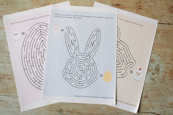 Easter Themed Mazes for Kids to do