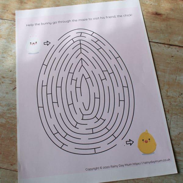 printable egg maze