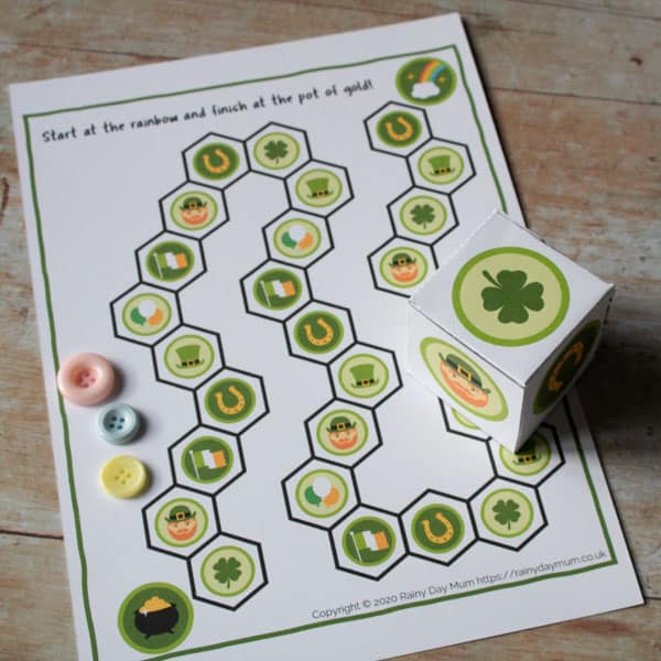 FREE Printable St Patrick's Day Race to the Pot of Gold Game for Toddlers and Preschoolers