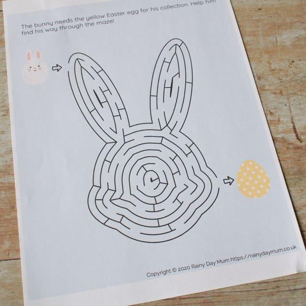 printable bunny maze