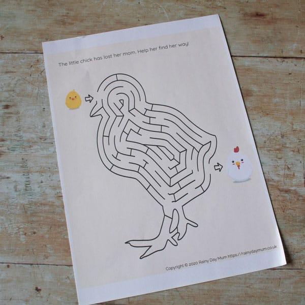 printable chick maze