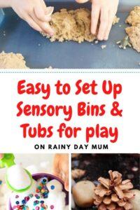 easy to set up sensory bins and tubs for play