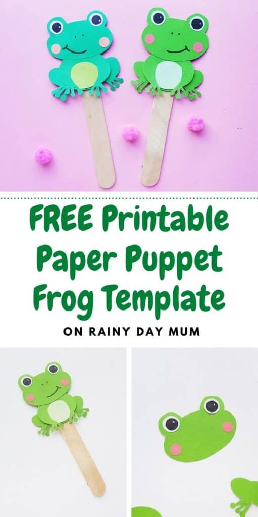 free printable paper puppet frog template