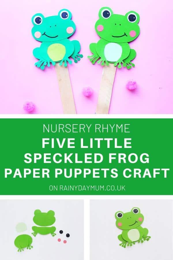 Nursery Rhyme Five Little Speckled Frog Paper Puppets Craft