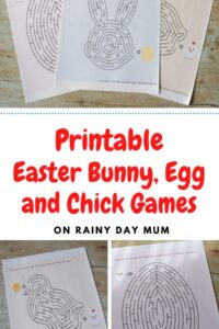 printable easter bunny egg and chick mazes