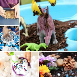 simple sensory bins and tubs for toddlers and preschoolers all without using food as a filler