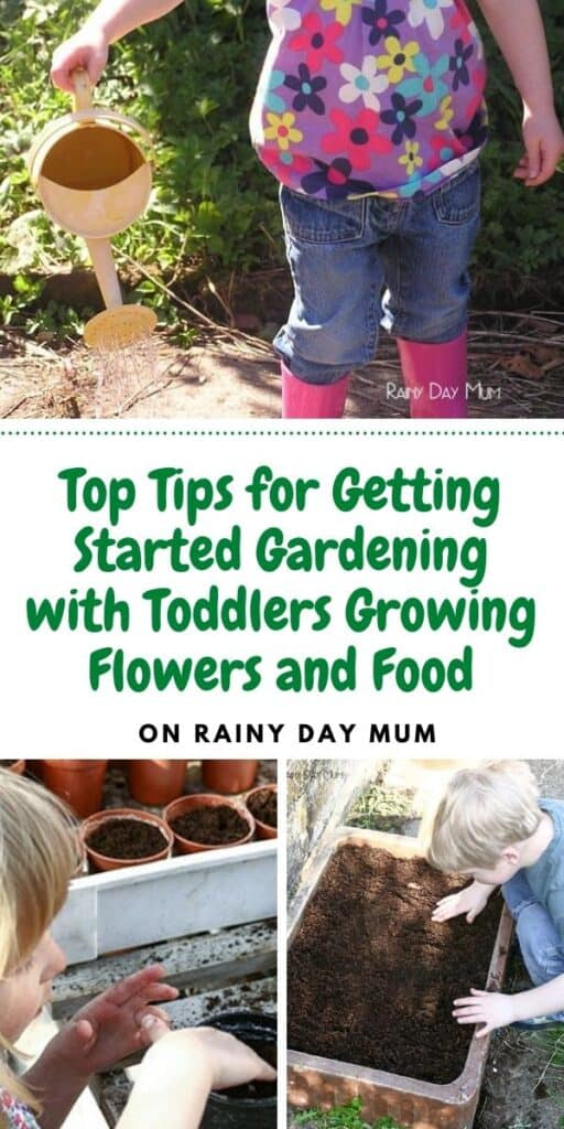 Toddlers gardening collage