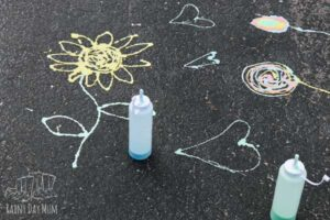 sidewalk chalk paint pictures on the driveway