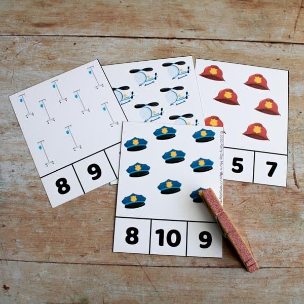 Emergency Services Count and Clip Cards to use with Toddlers and Preschoolers