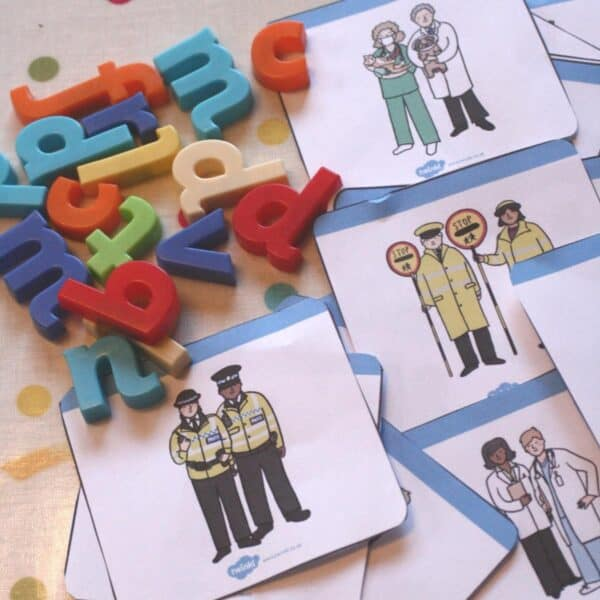 community helpers cards with magnetic letters for