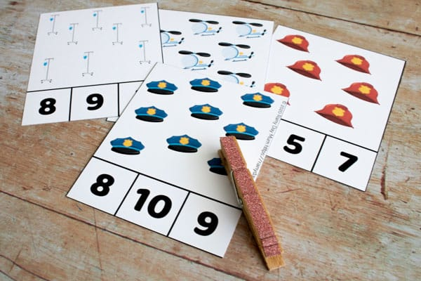 community helper count and clip cards with pictures and numbers a focus on numbers 6 to 10