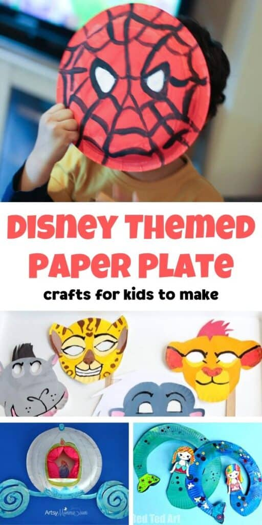 collage of simple Disney Themed Paper Plate Crafts for Kids