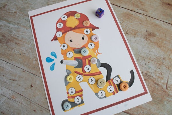fire fighter print and play maths game for tot school and preschool at home