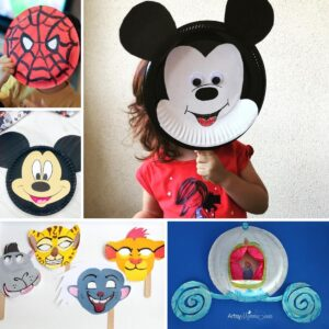 collage of simple and fun disney crafts to make from paper plates with kids