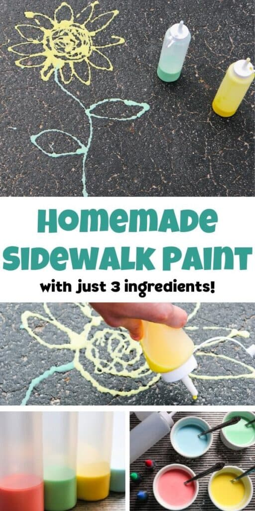 collage of homemade driveway chalk paint for kids to use