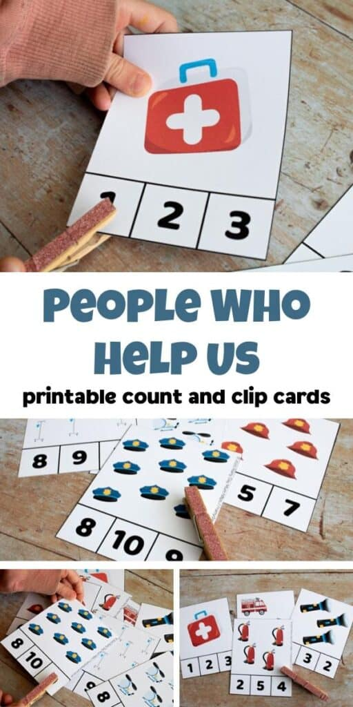 people who help us printable count and clip cards