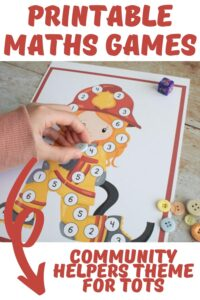 printable maths games community helpers theme for tots