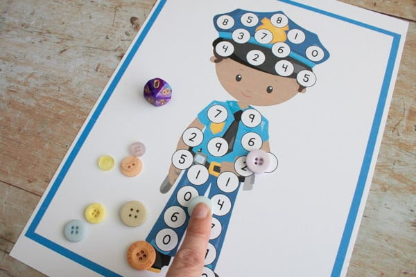 covering the numbers for a people who help us DIY maths game to play together