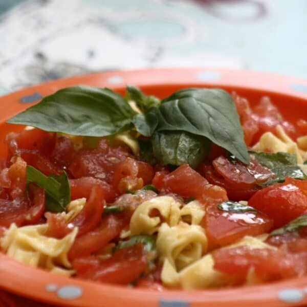 squashed tomato pasta for cooking with toddlers
