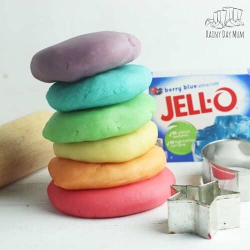 Scented, Coloured Jell-o Playdough Recipe