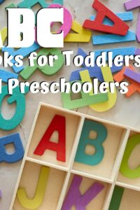 alphabet manipulatives with text overlay reading ABC books for toddlers and preschoolers
