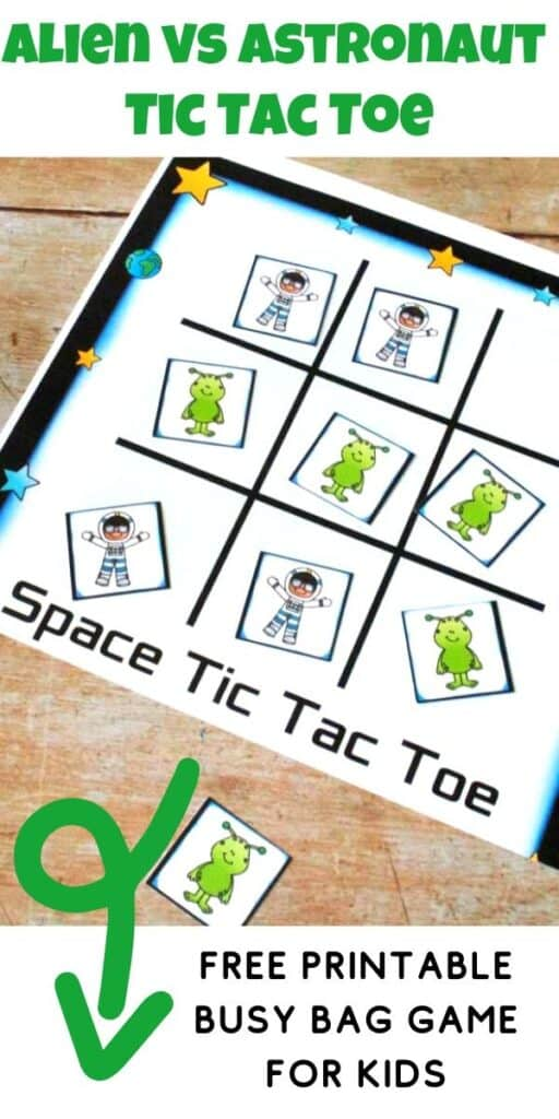 alien vs astronaut tic tac toe free printable busy bag game for kids