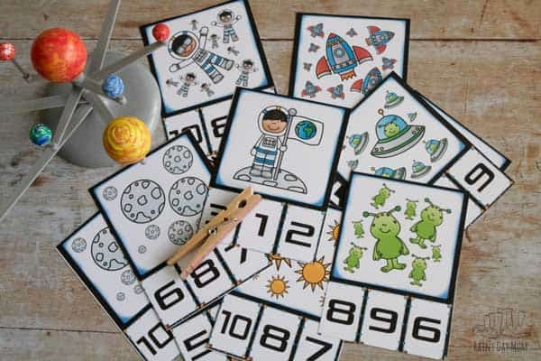 full set of count and clip cards focusing on numbers 1 to 10 from Rainy Day Mum