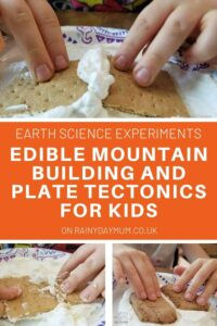 edible science experiment for kids to show how plate tectonics can form faults and mountains